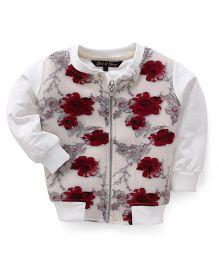 Gini & Jony Sweat Jacket Floral Print - Red Wnd White