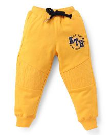 Palm Tree Full Length Track Pant With Drawstrings - Yellow