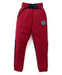 Palm Tree Full Length Track Pant Embroidered Patch - Maroon