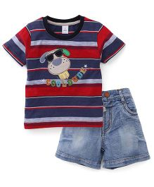 ToffyHouse Half Sleeves T-Shirt And Shorts Puppy Patch - Red And Blue
