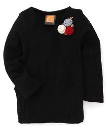 Little Kangaroos Pullover With Floral Applique - Black
