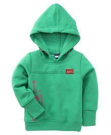 Play by Little Kangaroos Full Sleeves Printed Hooded Sweatshirt - Green