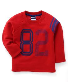 Play by Little Kangaroos Full Sleeves Winter Wear T-Shirt 82 Print - Red