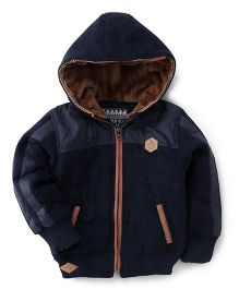 Little Kangaroos Full Sleeves Hooded Jacket - Navy