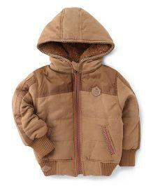 Little Kangaroos Full Sleeves Hooded Jacket - Khaki