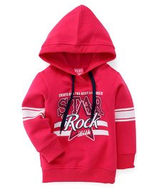 Little Kangaroos Full Sleeves Hooded Printed Sweatshirt  - Pink
