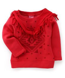 Play Little Kangaroos Full Sleeves Top With Stole - Red