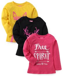 Play by Little Kangaroos Winter Wear Tops Set of 3 - Pink Black Yellow