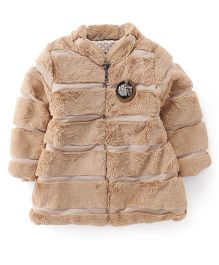 Little Kangaroos Full Sleeves Padded Fur Jacket - Fawn