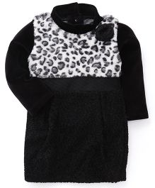 Little Kangaroos Winter Wear Frock With Inner Tee - Black White