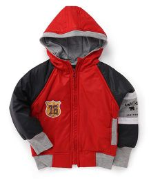 Little Kangaroos Raglan Sleeves Hooded Jacket - Red Black Grey