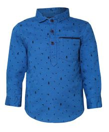 Tales & Stories Stylish Printed Cotton Shirt - Blue