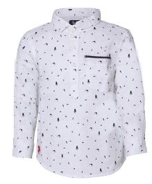 Tales & Stories Stylish Printed Cotton Shirt - White