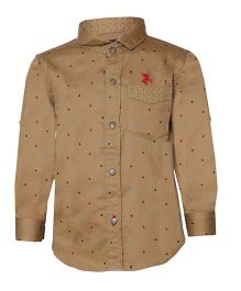 Tales & Stories Polka Dot Print Shirt - Khaki Brown
