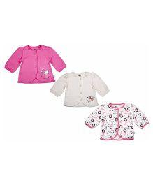 FS Mini Klub Full Sleeves Vest Set of 3 - Pink And White