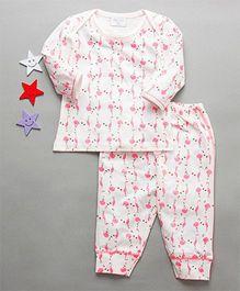 De-Nap Flamingo Print Top & Pajama Set - White & Pink