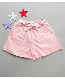 De-Nap Elephant Print Belt Shorts - Pink