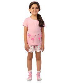 De-Nap Flamingo Print Top & Shorts Set - Pink