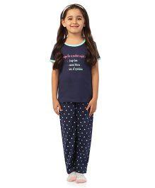 De-Nap Recipe For A Perfect Night Top & Pyjama Set - Navy Blue