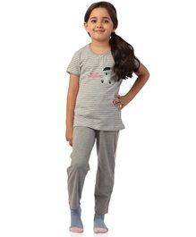 De-Nap Bonjour Mademoiselle Top & Pyjama Set - Grey