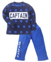 Doreme Full Sleeves T-Shirt And Bottoms Captain Print - Royal And Navy Blue