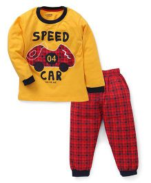 Doreme Full Sleeves Suit Car Printed - Yellow Red