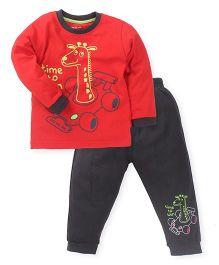 Doreme Full Sleeves T-Shirt And Bottoms Giraffe Print - Red Dark Grey