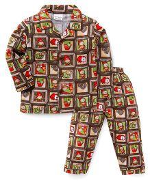 Olio Kids Full Sleeves Night Suit Multiprint - Brown