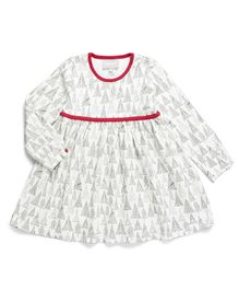 Coccoli Full Sleeves A Line Dress - Off White & Red