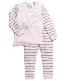 Coccoli Stripe Print Top & Pant Set - Pink & Grey