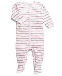 Coccoli Stripe Print Romper With Footie - Pink & Grey