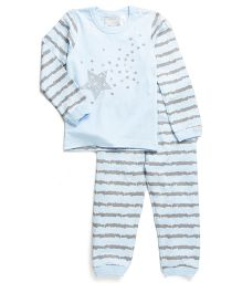 Coccoli Star & Stripe Print Top & Pant Set - Blue & Grey