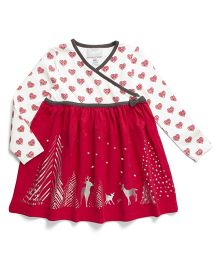 Coccoli Beautiful Christmas Themed Printed Dress - Red & Off White