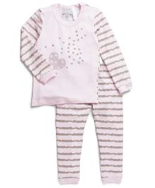 Coccoli Heart & Stripe Print Top & Pant Set - Pink & Grey