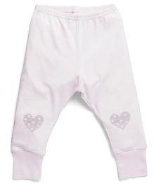 Coccoli Heart Print Leggings - White & Pink