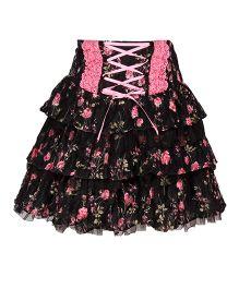Cutecumber Layer Skirt Floral Print - Black