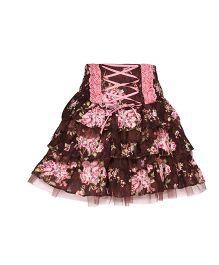 Cutecumber Layer Skirt Floral Print - Brown