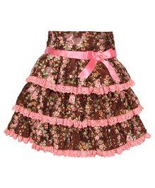 Cutecumber Layer Skirt Ribbon Bow - Brown