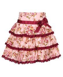 Cutecumber Layer Skirt Ribbon Bow - Peach