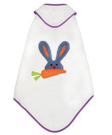 Little Bum Organic Rabbit Print Hooded Towel - Blue