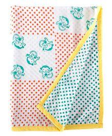 Little Bum Baby Monkey Print Blanket - Multicolor