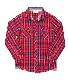 ShopperTree Yarn Dyerd Cotton Shirt Checks Pattern - Red