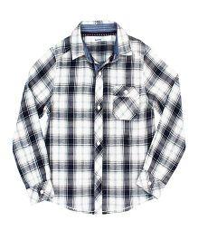 ShopperTree Yarn Dyerd Cotton Shirt Checks Pattern - Navy And White