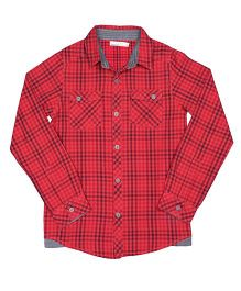 ShopperTree Yarn Dyerd Cotton Shirt Checks Pattern - Red And Black