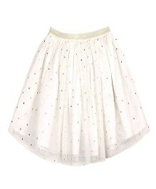 ShopperTree Dot Print Netted Skirt - White