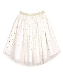 ShopperTree Dot Print Netted Skirt - White