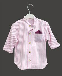 A.T.U.N Mandarin Stripe Collar Shirt - Pink