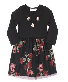 ShopperTree Full Sleeves Floral Print Frock - Black