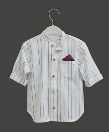A.T.U.N Mandarin Collar Stripe Shirt - White