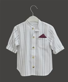A.T.U.N Mandarin Collar Stripe Shirt - White